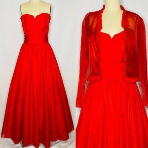 Vintage 80s Red sweetheart prom dress 2 pc set M